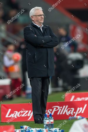 Stock Image of Finnish National Soccer Team's Swedish Head Coach Hans Backe During the International Friendly Soccer Match Between Poland and Finland at Municipal Stadium in Wroclaw Poland 26 March 2016 Poland Wroclaw
