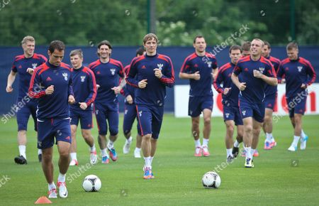 Stock Image of Russian National Soccer Team Player Roman Pavlyuchenko (c) During the Team's Training Session in Sulejowek Poland 14 June 2012 Russia Will Face Greece in a Group a Soccer Match of the Uefa Euro 2012 Soccer Championship in Warsaw on June 16 Poland Sulejowek