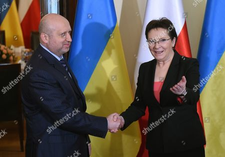 Polish Prime Minister Ewa Kopacz (r) Welcomes the Secretary of the National Security and Defence Council of Ukraine Oleksandr Turchynov (l) Before Their Meeting in Warsaw Poland 06 March 2015 the Meeting Reportedly was Held to Discuss Issues of a Security Cooperation Between Poland and Ukraine Poland Warsaw