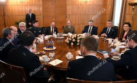 Polish Prime Minister Ewa Kopacz (r) with Polish Defence Minister Tomasz Siemoniak (2-r) During a Meeting with Secretary of the National Security and Defence Council of Ukraine Oleksandr Turchynov (3-l) in Warsaw Poland 06 March 2015 the Meeting Reportedly was Held to Discuss Issues of a Security Cooperation Between Poland and Ukraine Others Are not Identified Poland Warsaw