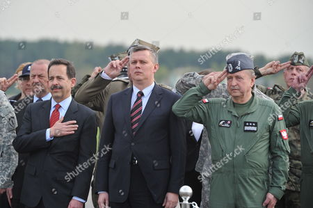 (l-r) Us Ambassador to Poland Stephen D Mull Polish Defence Minister Tomasz Siemoniak and Polish General Commander of the Armed Forces Types General Lech Majewski Attend the Arrival of Us Airborne Soldiers at the Military Airport in Swidwin Northern Poland 23 April 2014 an Us Army Company of About 150 Soldiers From the 173rd Airborne Brigade Combat Team Based in Vicenza Italy Came For Military Exercises in Poland Due to the Political Situation in Ukraine the Exercises Involving Some 600 Troops Also Take Place in Estonia Latvia and Lithuania and is Scheduled to Last For About a Month Poland Swidwin