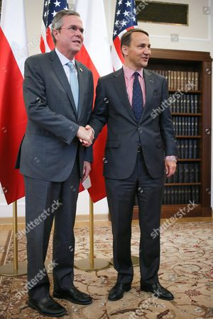 Polish Sejm (parliament) Speaker Radoslaw Sikorski (r) Shakes Hand with Us Republican Politician Jeb Bush (l) Before Their Meeting in Warsaw Poland 11 June 2015 Bush is on a One-day Visit to Poland Poland Warsaw