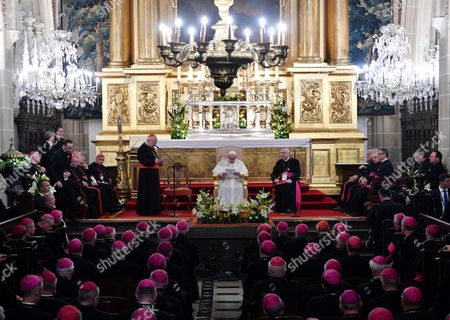 Pope Francis (c) Metropolitan of Krakow Cardinal Stanislaw Dziwisz (c-l) and Chairman of the Polish Episcopal Conference Archbishop Stanislaw Gadecki (c- R) During a Meeting with Polish Bishops at the Wawel Cathedral at the Wawel Castle in Krakow Poland 27 July 2016 the World Youth Day 2016 is Held in Krakow and Nearby Brzegi From 26 to 31 July Poland Krakow