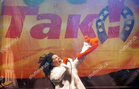 Stock Photo of Polish Singer Edyta Gorniak Performs During a Concert 'Polish Artists For Ukraine' at the Stage at Independent Square in Kiev Late Sunday 28 November 2004 Ukraine Kiev