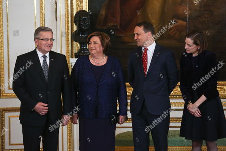 Polish Foreign Minister Radoslaw Sikorski (2-r) and His Wife Us Journalist and Pulitzer Prize-winning Author Anne Applebaum (r) with President of Poland Bronislaw Komorowski (l) and His Wife Anna Komorowska (2-l) Attend For the Solidarity Award Gala at the Royal Castle in Warsaw Poland 03 June 2014 the Inaugural Award of Poland's Foreign Ministry Will Be Presented For Crimean Tatar Leader Mustafa Jemilev As Part of the Celebrations of the 25th Anniversary of the First Partly Free Elections in Poland After World War Ii Which Brought to End Decades of Communist Rule in Poland Poland Warsaw