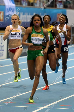 (l-r) Polands Justyna Swiety Nigerias Regina George Jamaicas Patricia Hall and Margaret Adeoye of Great Britain in Action During Womans 400m First Round Heat at the Athletics World Indoor Championships at Ergo Arena Sopot Poland 7 March 2014 Poland Sopot