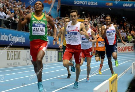 (l-r) Mohammed Aman of Ethiopia Adam Kszczot and Marcin Lewandowski Both of Poland Andrew Osagie of Great Britain and Thijmen Kupers of Netherlands in Action During the Men's 800m Final at the Iaaf Athletics World Indoor Championships at Ergo Arena in Sopot Poland 09 March 2014 Poland Sopot