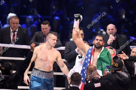 Polish Boxer Tomasz Adamek (l) and Us Boxer Eric Molina (r) During the Winner Announcement After the Bout For Heavyweight Ibf Intercontinental Belt at Tauron Arena in Krakow Poland 02 April 2016 Molina Won After Knocking out Adamek in the 10th Round Poland Krakow