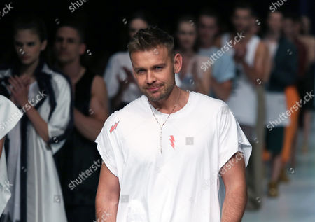 Polish Designer Dawid Wolinski Appears on the Catwalk After the Presentation of His Collection During the Mercedes-benz Fashion Weekend in Warsaw Poland 15 May 2015 the Fashion Event Runs From 15 to 17 May Poland Warsaw