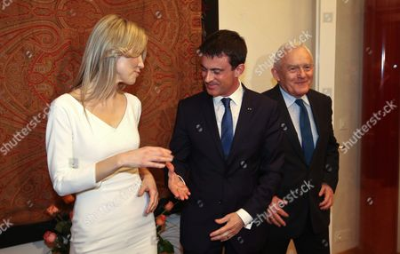 Democratic Left Alliance Presidential Candidate Magdalena Ogorek (l) and French Prime Minister Manuel Valls (c) Next to Democratic Left Alliance Leader Leszek Miller (r) During Their Meeting at the French Embassy in Warsaw Poland 11 March 2015 Valls is in Poland For a Two-day Visit Poland Warsaw