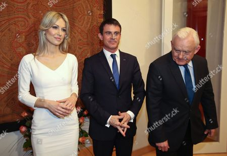 Democratic Left Alliance Presidential Candidate Magdalena Ogorek (l) and French Prime Minister Manuel Valls (c) Pose For Photo Next to Democratic Left Alliance Leader Leszek Miller (r) During Their Meeting at the French Embassy in Warsaw Poland 11 March 2015 Valls is in Poland For a Two-day Visit Poland Warsaw