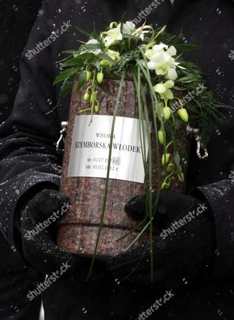 A Close Up View of the Funerary Urn Containing the Ashes of Wislawa Szymborska During the Secular Ceremony For Late Nobel-prize Winning Poet at the Rakowicki Cemetry in Krakow Poland 09 February 2012 Wislawa Szymborska Passed Away on 01 February 2012 at the Age of 89 Poland Krakow
