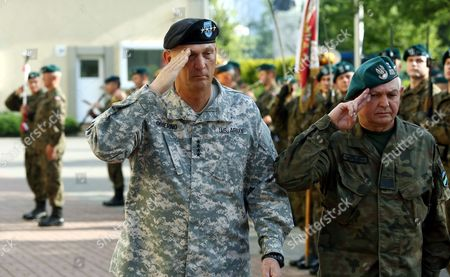 Chief of Staff of the Us Army General Raymond Odierno (l) with Polish General Jerzy Michalowski (r) During the Official Welcome Ceremony at the General Command of the Armed Forces Types in Warsaw Poland 09 June 2014 Later Today General Odierno Will Visit Drawsko Pomorskie Military Training Area to Watch Joint Polish Us Paratroopers Training General Odierno is on a Two-day Official Visit to Poland Poland Warsaw