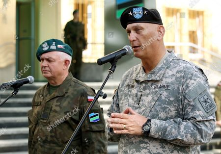 Chief of Staff of the Us Army General Raymond Odierno (r) with Polish General Jerzy Michalowski (l) During the Official Welcome Ceremony at the General Command of the Armed Forces Types in Warsaw Poland 09 June 2014 Later Today General Odierno Will Visit Drawsko Pomorskie Military Training Area to Watch Joint Polish Us Paratroopers Training General Odierno is on a Two-day Official Visit to Poland Poland Warsaw