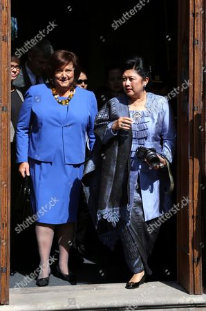 Poland's First Lady Anna Komorowska (l) and Indonesian First Lady Ani Bambang Yudhoyono (r) During a Visit to the Palace Museum in Wilanow in Warsaw Poland 04 September 2013 President Yudhoyono and His Wife Are on an Official Visit to Poland Poland Warsaw
