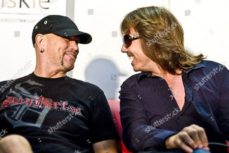 Vocalist Joey Tempest (r) and Drummer Ian Haugland (l) of Swedish Heavy Metal Band Europe Attend a Press Conference in Lublin Poland 24 July 2010 the Band Will Perform in Lublin Later the Same Evening Poland Lublin