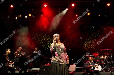 Cape Verdean Folk Singer Cesaria Evora (c) Performs During a Concert in Lublin Poland 17 June 2011 Poland Lublin