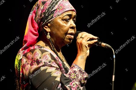 Stock Photo of Cape Verdean Folk Singer Cesaria Evora Performs During a Concert in Lublin Poland 17 June 2011 Poland Lublin