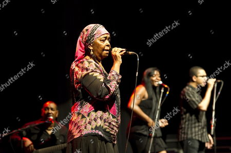 Cape Verdean Folk Singer Cesaria Evora (2-l) Performs During a Concert in Lublin Poland 17 June 2011 Poland Lublin