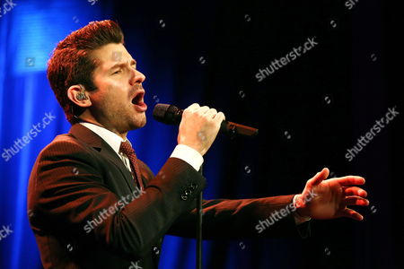 Stock Picture of Canadian Singer Matt Dusk Performs on Stage During a Polish Radio 3 Concert in Warsaw Poland 29 November 2013 Poland Warsaw