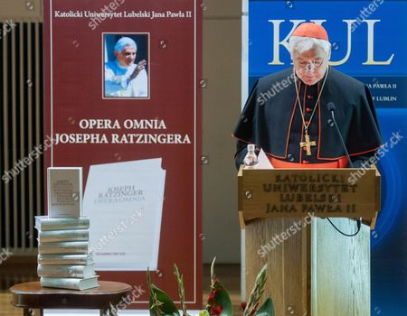 Prefect of the Congregation For the Doctrine of the Faith Cardinal Gerhard Ludwig Mueller Participates in the Presentation of the Second Volume of the Opera Omnia of Joseph Ratzinger 'Understanding the Revelation and Theology of History of St Bonaventure' at the Catholic University of Lublin Poland 24 October 2014 Poland Lublin