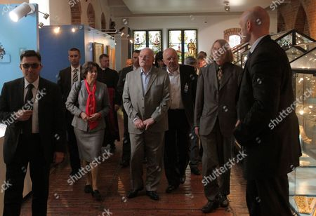 Slovak President Ivan Gasparovic (c) and His Wife Silvia Gasparovic (2-l) with the Museum Director Henryk Szkop (2-r) Visit the Nicolaus Copernicus Museum in Frombork North-east Poland 21 May 2014 President Gasparovic Continues a Two-day Official Visit to Poland Which is a Farewell Before Ending His Second Term in Office Poland Frombork