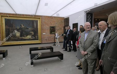 Slovak President Ivan Gasparovic (3-r) and His Wife Silvia Gasparovic (4-r) with the Museum Director Henryk Szkop (r) Visit the Nicolaus Copernicus Museum in Frombork North-east Poland 21 May 2014 President Gasparovic Continues a Two-day Official Visit to Poland Which is a Farewell Before Ending His Second Term in Office Poland Frombork