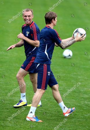 Russian National Soccer Team Players Denis Glushakov (l) and Roman Pavlyuchenko (r) During the Team's Training Session in Sulejowek Poland 10 June 2012 Russia Will Face Poland in a Group a Soccer Match of the Uefa Euro 2012 Soccer Championship in Warsaw on June 12 Poland Sulejowek