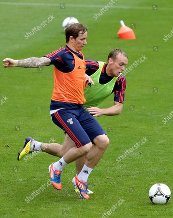 Russian National Soccer Team Players Denis Glushakov (r) and Roman Pavlyuchenko (l) in Action During the Team's Training Session in Sulejowek Poland 13 June 2012 Russia Will Face Greece in a Group a Soccer Match of the Uefa Euro 2012 Soccer Championship in Warsaw on June 16 Poland Sulejowek