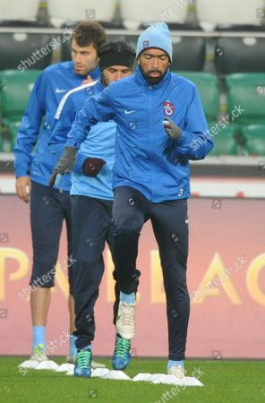 Trabzonspor Kulubu's Player Jose Bosingwa (c) Warms Up During His Team a Training Session in Warsaw Poland 06 November 2013 Legia Will Face Trabzonspor Kulubu in the Uefa Europa League Group J Soccer Match in Warsaw on 07 November 2013 Poland Warsaw