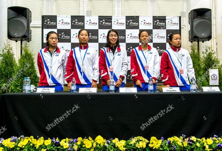The Taiwanese Fed Cup Team (l-r) Chuang Chia-jung Chan Chin-wei Captain Wang Shu-ting Hsu Ching-wen and Lee Ya-hsuan Attend a Press Conference in Inowroclaw Poland 13 April 2016 Taiwan Face Poland in a Fed Cup World Group Ii Tennis Match on 16-17 April in Inowroclaw Poland Inowroclaw