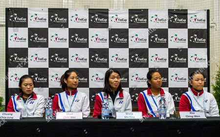 Stock Picture of The Taiwanese Fed Cup Team (l-r) Chuang Chia-jung Chan Chin-wei Captain Wang Shu-ting Hsu Ching-wen and Lee Ya-hsuan Attend a Press Conference in Inowroclaw Poland 13 April 2016 Taiwan Face Poland in a Fed Cup World Group Ii Tennis Match on 16-17 April in Wroclaw Poland Inowroclaw