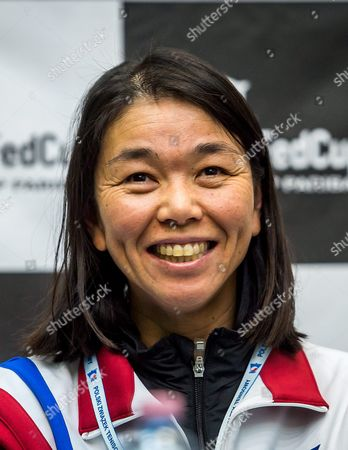 Stock Photo of Taiwanese Fed Cup Captain Wang Shu-ting Attends a Press Conference in Inowroclaw Poland 13 April 2016 Taiwan Face Poland in a Fed Cup World Group Ii Tennis Match on 16-17 April in Inowroclaw Poland Inowroclaw