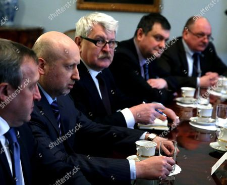 Secretary of the National Security and Defence Council of Ukraine Oleksandr Turchynov (2-l) at a Meeting with President of Poland Bronislaw Komorowski (not Pictured) in Warsaw Poland 05 March 2015 the Meeting was on Security Cooperation Between Poland and Ukraine Poland Warsaw