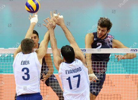 Eder Carbonera (l) and Evandro Guerra (c) of Brazil and Aaron Russell (r) of Usa During the Group J Match Between Brazil and Usa at the Fivb Volleyball World League 2016 Final Six Tournament in Krakow Poland 15 July 2016 Poland Krakow