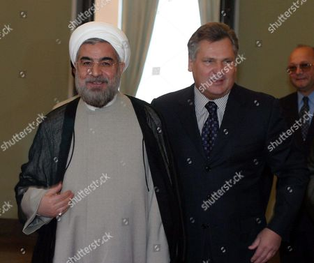 Polish President Aleksander Kwasniewski (r) and Secretary of the Supreme National Security Council of Iran Hassan Rohani (l) During Their Meeting in Warsaw on Wednesday 30 June 2004 Poland Warsaw