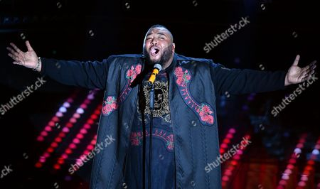 Italian singer Sergio Sylvestre performs on stage during the 67th Festival of the Italian Song of Sanremo at the Ariston theater in Sanremo, Italy, 08 February 2017. The 67th edition of the television song contest runs from 07 to 11 February.