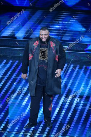 Italian singer Sergio Sylvestre perfoms on stage during the 67th Festival of the Italian Song of Sanremo at the Ariston theater in Sanremo, Italy, 08 February 2017. The 67th edition of the television song contest runs from 07 to 11 February.