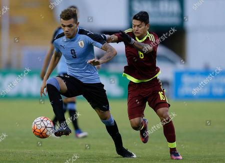 Ronaldo Lucena, Nicolas Schiappacasse Uruguay's Nicolas Schiappacasse, left, is pressured by Venezuela's Ronaldo Lucena, during a U-20 South America qualifying soccer tournament match for the 2017 South Korea U-20 World Cup, in Quito, Ecuador