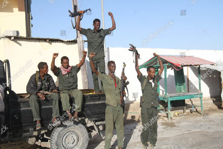 Soldiers celebrate the election of Somalian President Mohamed Abdullahi 'Farmajo' Mohamed after the votes where counted in the presidential election held at the international airport in Mogadishu, Somalia, 09 February 2017. Members of the upper and lower houses voted with 21 candidates for president. The war torn country is holding its first Presidential elections in a quarter century.