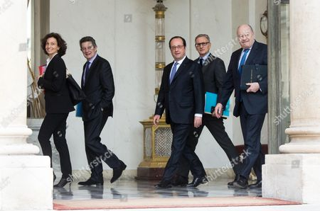 Stock Image of French Culture Minister Audrey Azoulay, Elysee Secretary General Jean-Pierre Jouyet, French President Francois Hollande, French Junior Minister for Parliamentary Relations Andre Vallini and French Minister for Town and Country Planning, Rural Affairs and Local Authorities Jean-Michel Baylet walk