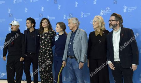 (L-R) Jury member Chinese director Wang Quan An, Jury member Mexican actor Diego Luna, Jury member US actress Maggie Gyllenhaal,  Jury member German actress Julia Jentsch,  Jury President Dutch director Paul Verhoeven,  Jury member Tunisian producer Dora Bouchoucha Fourati, Jury member Icelandic artist Olafur Eliasson