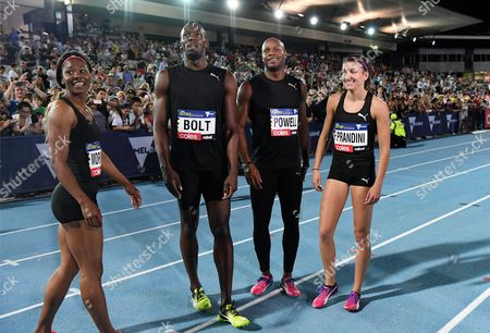 Jamaican sprinters Usain Bolt (centre left) with Asafa Powell (centre right), Natasha Morrison (left) and US sprinter Jenna Prandini after the Mixed 4x100 Metre Relay at the NITRO Athletics series round 2 at Lakeside Stadium in Melbourne,  Australia, 09 February 2017.