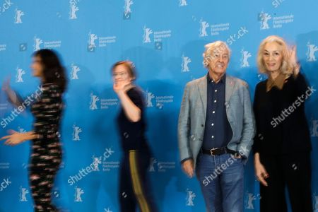 The Jury of the 67th International Berlin Film Festival, from left, Maggie Gyllenhaal, Julia Jentsch, Paul Verhoeven and Dora Bouchoucha Fourati pose for a group photo during a photo call at the 2017 Berlinale Film Festival in Berlin, Germany