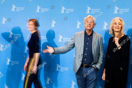 The Jury of the 67th International Berlin Film Festival, from left, Julia Jentsch, Paul Verhoeven and Dora Bouchoucha Fourati pose for a group photo during a photo call at the 2017 Berlinale Film Festival in Berlin, Germany