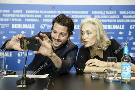 Jury member Mexican actor Diego Luna takes a selfie with Jury member Tunisian producer Dora Bouchoucha Fourati during the Jury Press Conference of the 67th annual Berlin Film Festival, in Berlin, Germany, 09 February 2017. The Berlinale runs from 09 to 19 February.