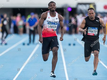 Confidence Lawson and Michael Frater in the 60m sprint