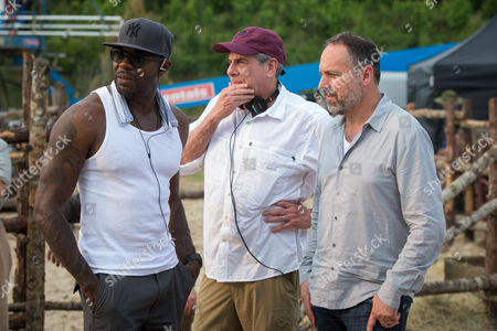 (l to r) Director Antoine Fuqua with producers Roger Birnbaum and Todd Black on the set