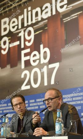 (L-R) French actor Reda Kateb and French director Etienne Comar attend the press conference for 'Django' during the 67th annual Berlin Film Festival, in Berlin, Germany, 09 February 2017. The movie is presented in the Official Competition at the Berlinale that runs from 09 to 19 February.