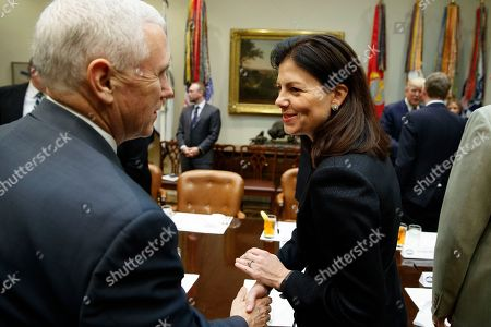 Mike Pence, Kelly Ayotte Former New Hampshire Senator Kelly Ayotte shakes hands with Vice President Mike Pence in the Roosevelt Room of the White House in Washington, prior to a meeting between President Donald Trump and a group of U.S. Senators on his Supreme Court Justice nominee Neil Gorsuch